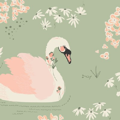 Art Gallery Fabrics - Hello Ollie - Dabbling Swan in Sage