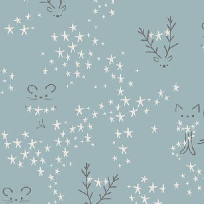 Art Gallery Fabrics - Holiday - Little Town - Starbright in Fog