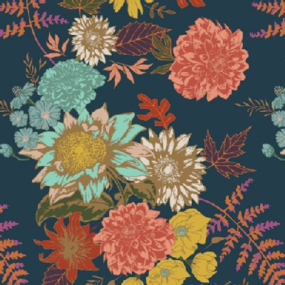 Art Gallery Fabrics - Knits - Autumn Vibes - Floral Glow in Twilit