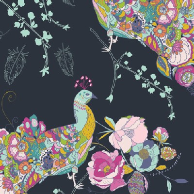 Art Gallery Fabrics - Petal and Plume - Peacock Waltz in Gala
