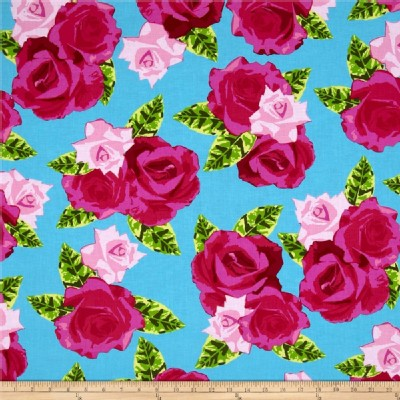Benartex - English Rosey - Rose Bouquet in Turquoise