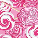 Benartex - Hugs and Kisses - Swirl Lollipops in Pink