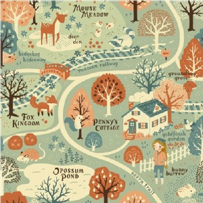 Birch Fabrics - Acorn Trail - Acorn Trail Map in Mint