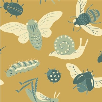 Birch Fabrics - Acorn Trail - KNIT - Bugs in Gold