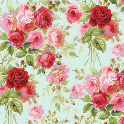 Blend Fabrics - Anna Griffin - Rose Garden in Blue