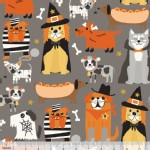 Blend Fabrics - Halloween - Boo Crew - Howling in Grey