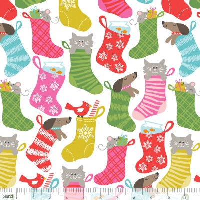 Blend Fabrics - Holiday - Even A Mouse - Stocking Stuffers in White