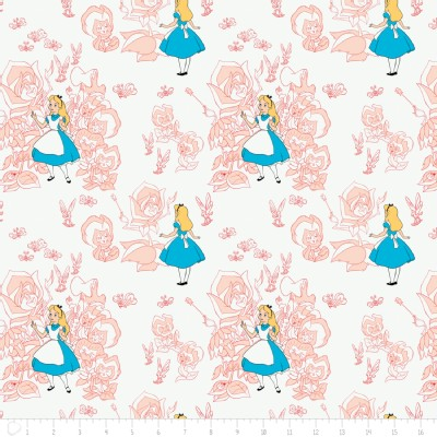 Camelot Fabrics - Alice In Wonderland - Golden Afternoon Tolile in Blush