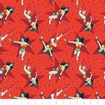 Camelot Fabrics - DC Comic - Wonder Woman Stars in Red