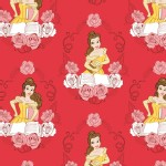 Camelot Fabrics - Disney Licensed - Beauty and the Beast - Belle in Ruby
