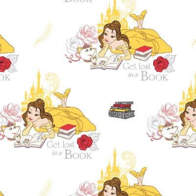 Camelot Fabrics - Disney Licensed - Beauty and the Beast - Book in Yellow