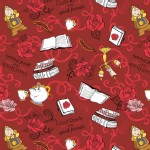 Camelot Fabrics - Disney Licensed - Beauty and the Beast - Friends  in Red