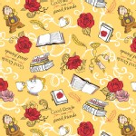 Camelot Fabrics - Disney Licensed - Beauty and the Beast - Friends  in Gold