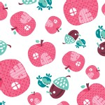 Camelot Fabrics - FairyVille - Apple Houses in White