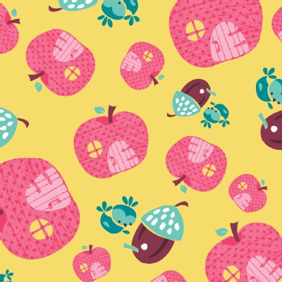 Camelot Fabrics - FairyVille - Apple Houses in Yellow