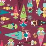 Camelot Fabrics - FairyVille - Gnomes in Burgundy