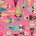 Camelot Fabrics - FairyVille - Gnomes in Pink