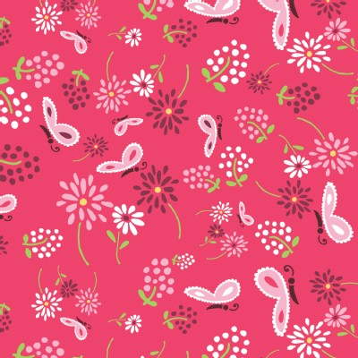 Camelot Fabrics - FairyVille - Butterflies and Flowers in Pink