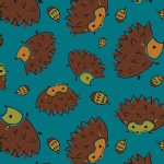 Camelot Fabrics - Frolicking Forest - Hedgehog in Blue