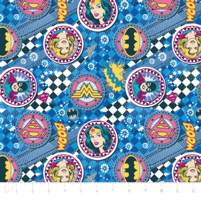 Camelot Fabrics - Girl Power 2 - Badges in Blue