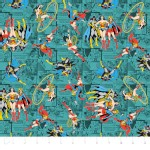 Camelot Fabrics - Girl Power 2 - Comics in Teal
