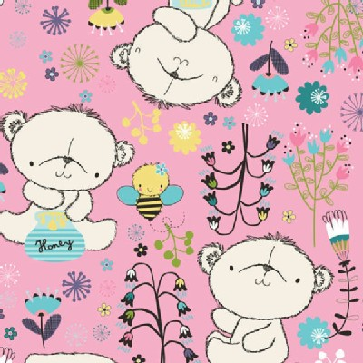 Camelot Fabrics - Theodore and Izzy - Theodore the Bear in Pink