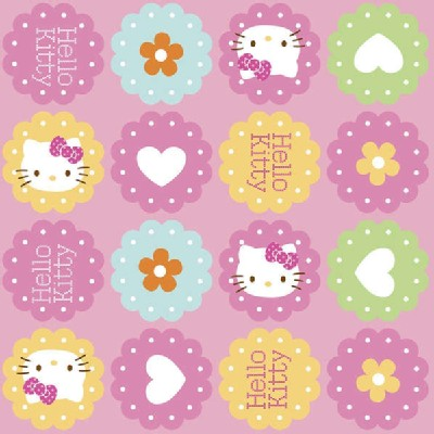 Character Prints - Hello Kitty - Hearts and Flowers Toss in Pink