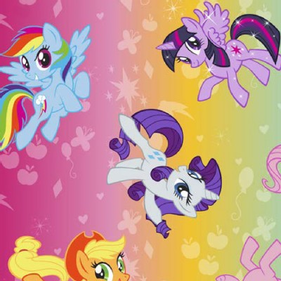 Character Prints - Other Characters - MLP Ombre Toss Brushed Back Satin in Ombre