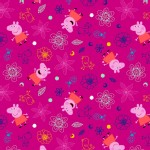 Character Prints - Other Characters - Peppa Pig Flowers in Fushia