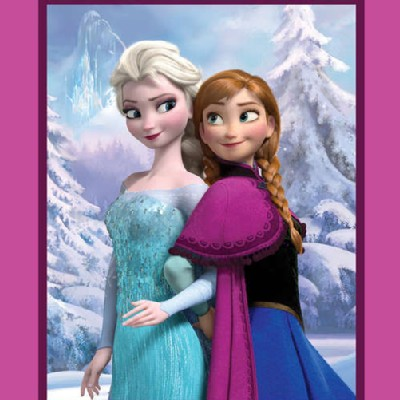 Character Prints - Princess - Frozen Sisters Snowy Scenic Panel in Pink