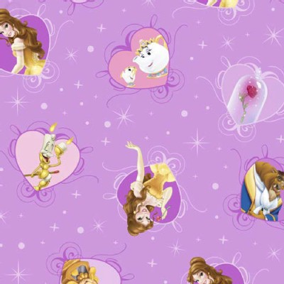 Character Prints - Princess - Beauty Beast Film Hearts in Lavender