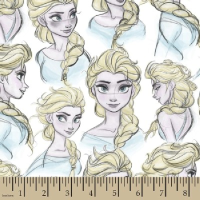 Character Prints - Princess - KNIT - Frozen Elsa Sketch in White