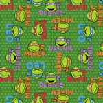 Character Prints - Super Heroes - KNIT - TMNT Faces in Green
