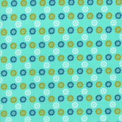 Cotton And Steel - Mustang - Flower Icons in Turquoise