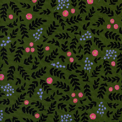 Cotton And Steel - Wonderland - Rose Garden in Moss Metallic