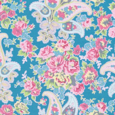 Free Spirit - Tea Cakes - Floral Paisley in Cornflower