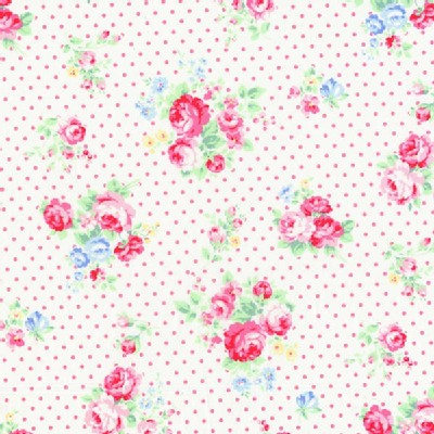 Lecien - Flower Sugar 2013 Fall - Dots - Floral in Pink Dots on White