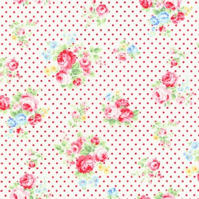 Lecien - Flower Sugar 2013 Fall - Dots - Floral in Red Dots on White