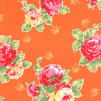 Lecien - Flower Sugar 2014 - Large Floral Bouquet in Orange