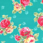 Lecien - Flower Sugar 2014 - Large Floral Bouquet in Teal