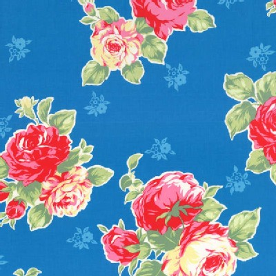 Lecien - Flower Sugar 2014 - Large Floral Bouquet in Blue