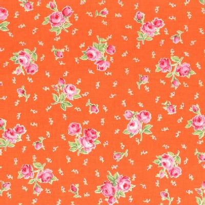 Lecien - Flower Sugar 2014 - Floral Bouquet and Tiny Buds in Orange