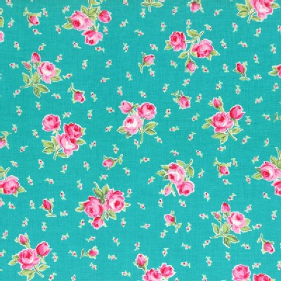 Lecien - Flower Sugar 2014 - Floral Bouquet and Tiny Buds in Teal