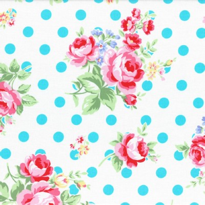 Lecien - Flower Sugar 2015 Fall - Main Floral Dots in White Aqua Dots