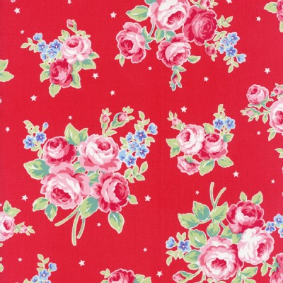 Lecien - Flower Sugar Rose Kiss - Main Floral in Red