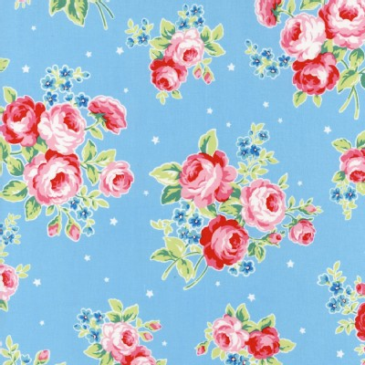 Lecien - Flower Sugar Rose Kiss - Main Floral in Baby Blue