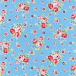 Lecien - Flower Sugar Rose Kiss - Floral Toss in Baby Blue