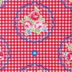 Lecien - Flower Sugar Rose Kiss - Checkered Cameo in Red