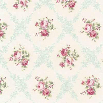 Lecien - Rococo Sweet 2014 - Floral Checkers in Seamist