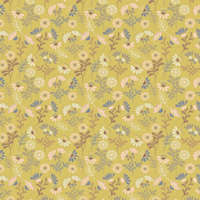 Lewis And Irene - A Little Bird Told Me - Cottage Flowers in Spring Yellow